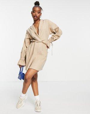 Бежевое платье-рубашка мини с расклешенной юбкой, пышным рукавом на манжете и большими манжетами -Нейтральный ASOS DESIGN