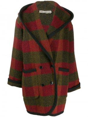 Пальто 1980-х годов в клетку с капюшоном Guy Laroche Pre-Owned. Цвет: красный