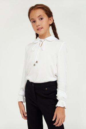 Блузка для девочки Finn-Flare. Цвет: белый