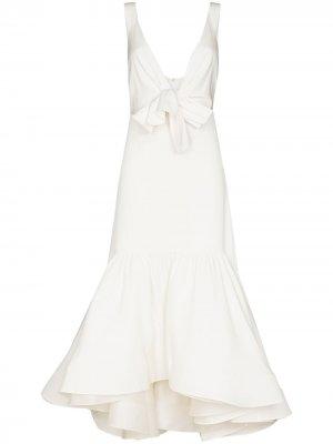Шелковое платье Zinnia с бантом Silvia Tcherassi. Цвет: белый