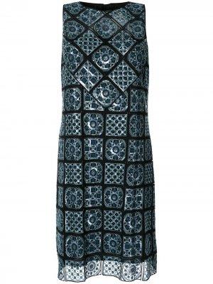 Платье Helena с геометричным принтом Elie Tahari. Цвет: синий