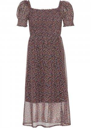 Платье с вырезом каре bonprix. Цвет: черный