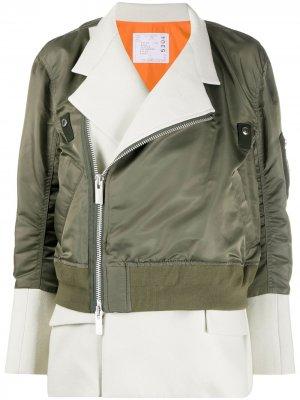 Куртка-бомбер Sacai. Цвет: зеленый