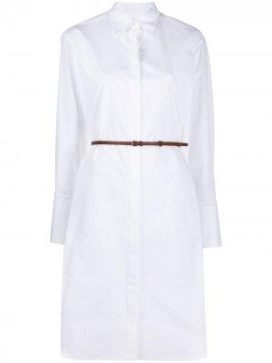 Платье-рубашка с поясом The Row. Цвет: белый