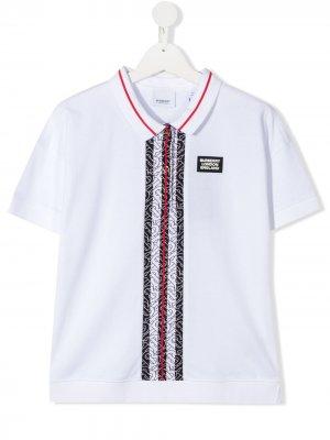 Рубашка-поло с короткими рукавами Burberry Kids. Цвет: белый