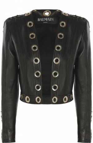 Кожаная куртка с декоративными отделкой и шнуровкой Balmain. Цвет: черный