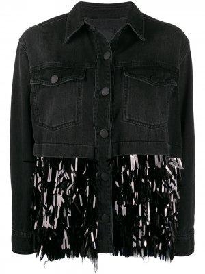 Джинсовая куртка с пайетками Pinko. Цвет: черный
