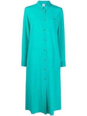 Платье-рубашка с нагрудным карманом Aspesi. Цвет: зеленый