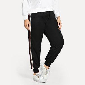 Большие брюки со симметрическими полосами SHEIN. Цвет: чёрный