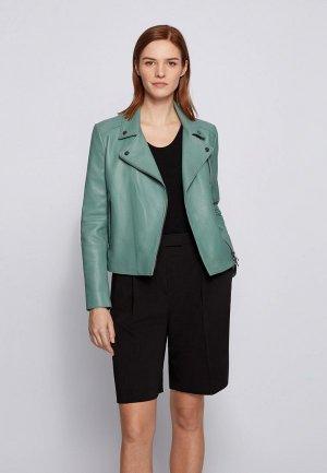 Куртка кожаная Boss C_Saleli. Цвет: зеленый
