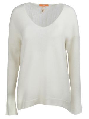 Однотонный пуловер HUGO BOSS. Цвет: белый