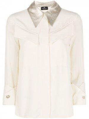 Рубашка с контрастным воротником и рукавами три четверти Elisabetta Franchi. Цвет: нейтральные цвета