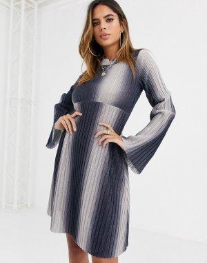 Свободное платье мини в рубчик с длинными рукавами -Синий ASOS DESIGN