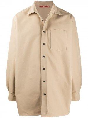 Твиловая рубашка на пуговицах Acne Studios. Цвет: коричневый