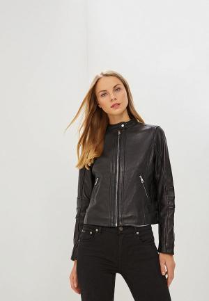 Куртка кожаная Lauren Ralph. Цвет: черный