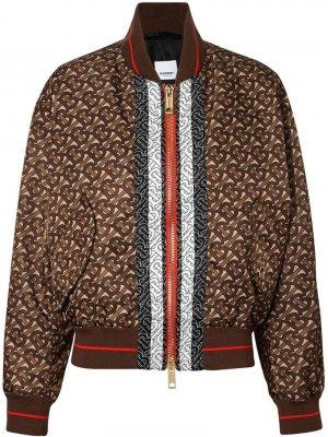 Куртка-бомбер с монограммой и принтом в полоску Burberry