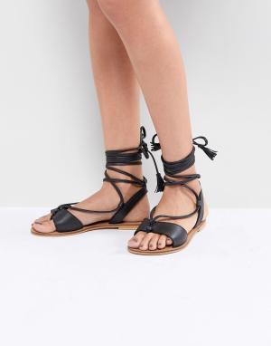 Кожаные сандалии на завязках ASOS FLORRIE DESIGN. Цвет: черный