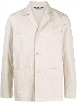 Однобортная куртка с накладными карманами Aspesi. Цвет: нейтральные цвета