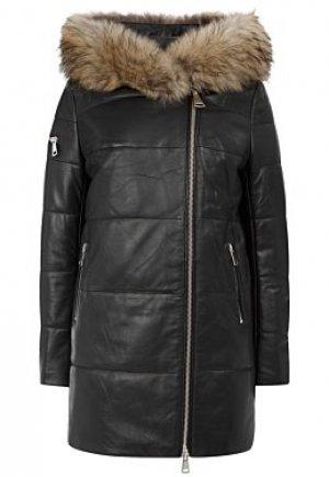 Утепленная кожаная куртка с отделкой мехом енота Снежная Королева