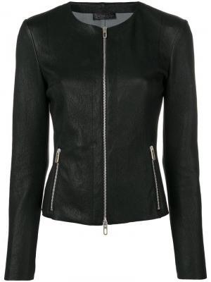 Приталенная кожаная куртка Drome. Цвет: черный