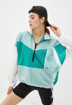 Ветровка Nike W NSW TCH PCK JKT WVN MESH. Цвет: бирюзовый