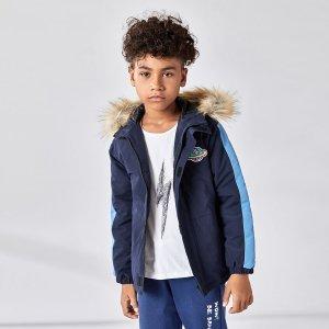 Пальто-парка с вышивкой для мальчиков SHEIN. Цвет: темно-синий