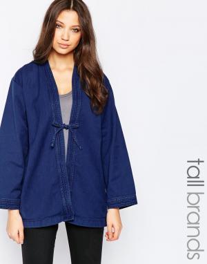 Джинсовая куртка в стиле кимоно Imma Waven Tall. Цвет: синий