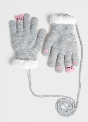 Перчатки для девочек O`Stin. Цвет: жемчужно-серый