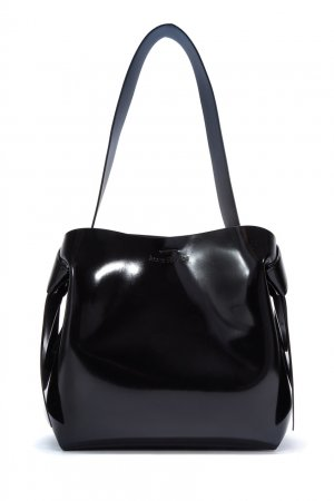 Черная лакированная сумка Acne Studios. Цвет: черный