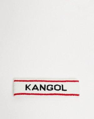 Белая спортивная повязка на голову с логотипом -Белый Kangol