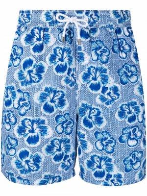 Плавки-шорты с кулиской и цветочным принтом Hackett. Цвет: синий