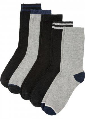 Носки с открыткой (5 шт.) bonprix. Цвет: серый