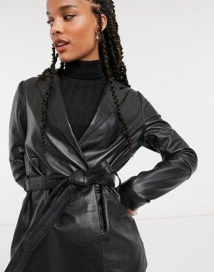Черная легкая кожаная куртка с поясом -Черный Muubaa