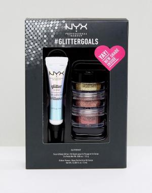 Набор основ под макияж с блестками Glitter Goals NYX Professional Make Makeup. Цвет: мульти