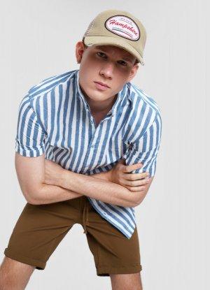 Хлопковая рубашка в полоску с мао-воротником O`Stin. Цвет: пыльно-голубой