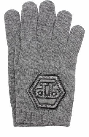 Шерстяные перчатки с отделкой Philipp Plein. Цвет: серый