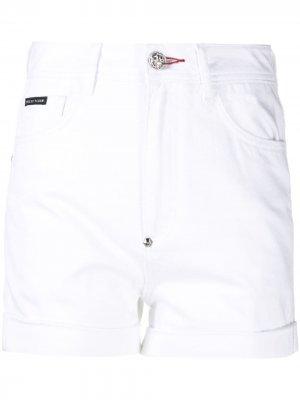 Шорты с вышивкой Philipp Plein. Цвет: белый