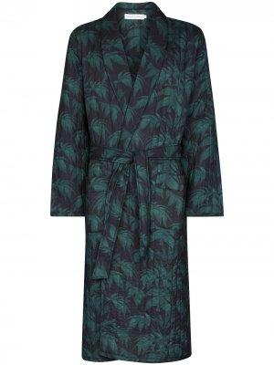 Стеганый халат Byron с принтом Desmond & Dempsey. Цвет: синий
