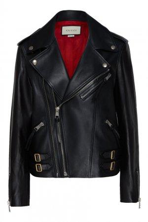 Черная куртка-косуха Gucci. Цвет: черный