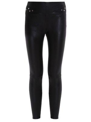 Кожаные брюки с заклепками YSL