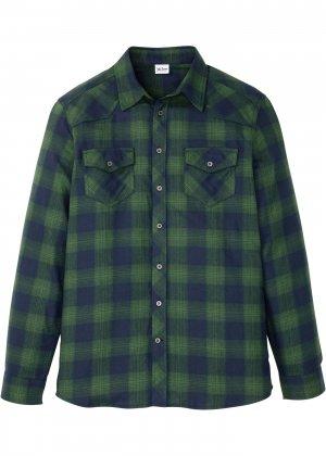 Рубашка с длинным рукавом bonprix. Цвет: синий