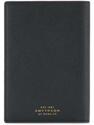Обложка для паспорта с логотипом Smythson. Цвет: черный