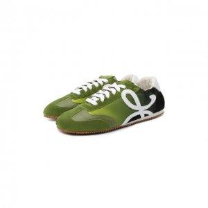 Комбинированные кроссовки Loewe. Цвет: зелёный