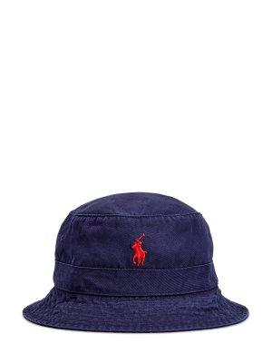 Панама из хлопкового габардина с вышитым логотипом POLO RALPH LAUREN. Цвет: синий