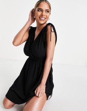 Черное пляжное платье мини из переработанных материалов со сборками коллекции Fuller Bust -Черный цвет ASOS DESIGN