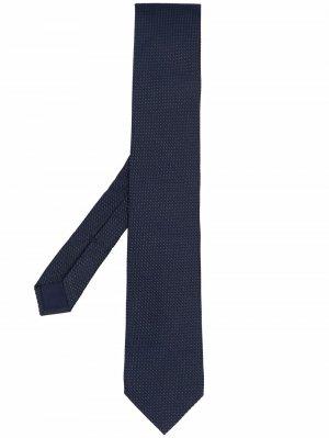 Галстук с геометричной вышивкой Corneliani. Цвет: синий