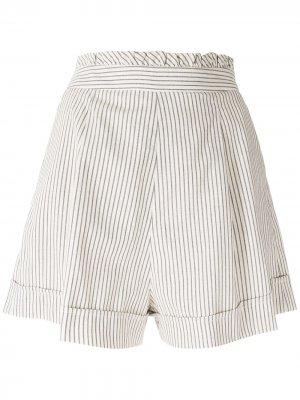 Широкие шорты со складками Eva. Цвет: белый