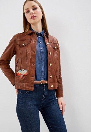 Куртка кожаная Blouson LEVIS OVER NAPPA PARIS. Цвет: коричневый