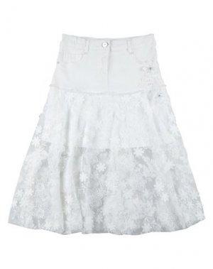 Джинсовая юбка ELSY. Цвет: белый