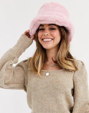 Розовая панама из искусственного меха -Розовый ASOS DESIGN